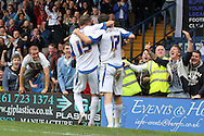 Bury's Danny Nardiello celebrates scoring his sides third goal with team mate Ryan Lowe (scorer of Bury's 2nd). Skybet football league two match, Bury v Burton Albion at the JD Stadium, Gigg Lane in Bury, Lancs on Saturday 20th Sept 2014.<br /> pic by David Richards,  Andrew Orchard sports photography.