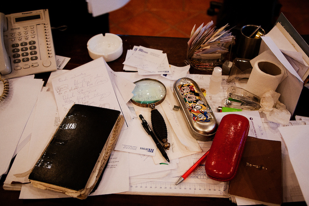 The desk of Borka Pavicevic, Director of the Center for Cultural Decontamination...Matt Lutton for the International Herald Tribune..Capture of Ratko Mladic and state of Nationalism. Belgrade, Serbia. June 1, 2011.