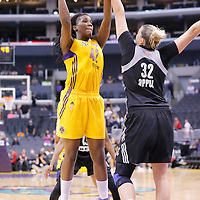 22 June 2014: center Jantel Lavender (42) of the Los Angeles Sparks goes for the skyhook over center Jayne Appel (32) of the San Antonio Stars during the San Antonio Stars 72-69 victory over the Los Angeles Sparks, at the Staples Center, Los Angeles, California, USA.