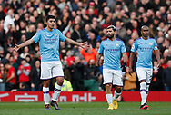 Rodrigo of Manchester City questions during the Premier League match at Old Trafford, Manchester. Picture date: 8th March 2020. Picture credit should read: Darren Staples/Sportimage