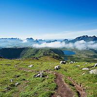 view down hiking trail from Justadtind, Vestvagoy, Lofoten islands, Norway