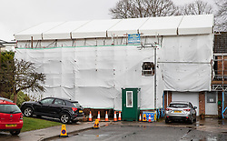 © Licensed to London News Pictures. 04/03/2019. Salisbury, UK. On the first anniversary the home of former Russian spy Sergei Skripal is still covered in plastic sheeting and scaffolding as work to clean the property in Salisbury nears completion. Mr Skripal and his daughter Yulia survived the nerve agent attack but a resident of nearby Amesbury, Dawn Sturgess, died in June 2018 after coming in contact with the poison. Two Russians have been named in connection with the attack. Photo credit: Peter Macdiarmid/LNP