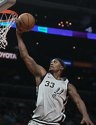 November 15, 2018 - Los Angeles, California, U.S - Dante Cunningham #33 of the San Antonio Spurs goes for a layup during their NBA game with the Los Angeles Clippers on Thursday November 15, 2018 at the Staples Center in Los Angeles, California. Clippers defeat Spurs, 116-111. (Credit Image: © Prensa Internacional via ZUMA Wire)
