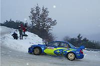 MONTE CARLO RALLY, 20030125, <br />  PETTER SOLBERG - PHILL MILLS / SUBARU IMPREZA WRC - ACTION<br /> PHOTO : CLAUDE SAULNIER / DIGITALSPORT
