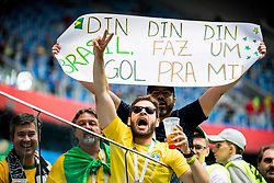 June 22, 2018 - Sankt Petersburg, Russia - 180622 Supporters of Brazil ahead of the FIFA World Cup group stage match between Brazil and Costa Rica on June 22, 2018 in Sankt Petersburg..Photo: Petter Arvidson / BILDBYRÃ…N / kod PA / 92075 (Credit Image: © Petter Arvidson/Bildbyran via ZUMA Press)