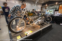 "Cherry's Company's ""Kross"" Kaichiroh Kurosu's custom Harley-Davidson Panhead, painted since its unveiling in the Naked Truth Sturgis Exhibition, here at Mooneyes Yokohama Hot Rod & Custom Show. Yokohama, Japan. December 6, 2015.  Photography ©2015 Michael Lichter."