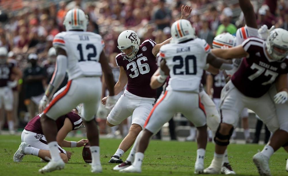 Texas A&M place kicker Daniel LaCamera (36) kicks a field goal against Auburn during the first quarter of an NCAA college football game on Saturday, Nov. 4, 2017, in College Station, Texas. (AP Photo/Sam Craft)