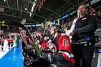 KELOWNA, CANADA - NOVEMBER 9: Team WHL sits on the bench against the Team Russia on November 9, 2015 during game 1 of the Canada Russia Super Series at Prospera Place in Kelowna, British Columbia, Canada.  (Photo by Marissa Baecker/Western Hockey League)  *** Local Caption ***