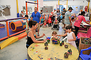 Children's holiday activity. Children in a creative centre