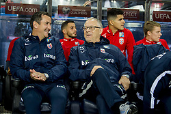 September 1, 2017 - Oslo, NORWAY - 170901 Per Joar Hansen, assistant coach of Norway, and Lars LagerbÅck, head coach of Norway, ahead of the FIFA World Cup Qualifier match between Norway and Azerbaijan on September 1, 2017 in Oslo. .Photo: Vegard Wivestad GrÂ¿tt / BILDBYRN / kod VG / 170000 (Credit Image: © Vegard Wivestad Gr¯Tt/Bildbyran via ZUMA Wire)