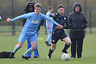 Leeds United defender Joe Stanley on the attack during the U18 Professional Development League match between Coventry City and Leeds United at Alan Higgins Centre, Coventry, United Kingdom on 13 April 2019.