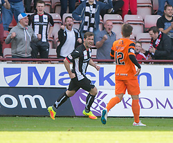 Dunfermline's Michael Paton cele scoring their goal. Dunfermline 1 v 3 Dundee United, Scottish Championship game played 10/9/2016 at East End Park.