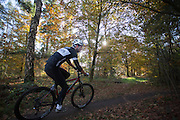 Bij Austerlitz rijdt een man op een mountainbike door de bossen op een mooie herfstdag.<br /> <br /> A man on a mountain bike enjoys the beautiful autumn weather in the woods near Austerlitz.