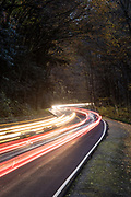 Long exposure light trails, QC Mountain Leaves 2020