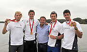 Caversham, Great Britain, left to right Andy TRIGGS HODGE, Peter REED, Jurgan GROBLER, Steve WILLIAMS and Tom JAMES.  2008 Beijing Olympic, GB Rowing Medalist, Redgrave Pinsent Rowing Lake, Thursday 28.08.2008[Mandatory Credit. Peter Spurrier/Intersport Images]