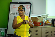 Jamaica, NY - 20 July 2017. Business plan presentations of the second cohort of the 12-week Jamaica FEASTS program at the Queens Public Library. Charlene Waugh discusses her plans for Mama G's.