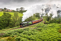 "© Licensed to London News Pictures. 05/08/2020. Goathland UK. Locomotive SR 926 ""Repton"" travels through Goathland on the North Yorkshire Moors Railway on route from Grosmont to Pickering in North Yorkshire this morning. The North Yorkshire Moors railway began operating this week after months of closure due to the Covid-19 outbreak. Photo credit: Andrew McCaren/LNP"