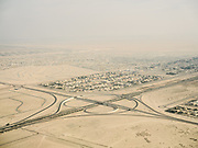 Flying over the periphery of Abu Dhabi that extends into the desert.