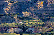 Looking down onto badlands formations from Buck Hill  in Theodore Roosevelt National Park, North Dakota, USA