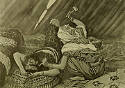 JAEL [Yael] SMOTE SISERA, AND SLEW HIM. Judges iv. 21. Then Jael Heber's wife took a nail of the tent, and took an hammer in her hand, and went softly unto him, and smote the nail into his temples, and fastened it into the ground: for he was fast asleep and weary. From the book ' The Old Testament : three hundred and ninety-six compositions illustrating the Old Testament ' Part II by J. James Tissot Published by M. de Brunoff in Paris, London and New York in 1904