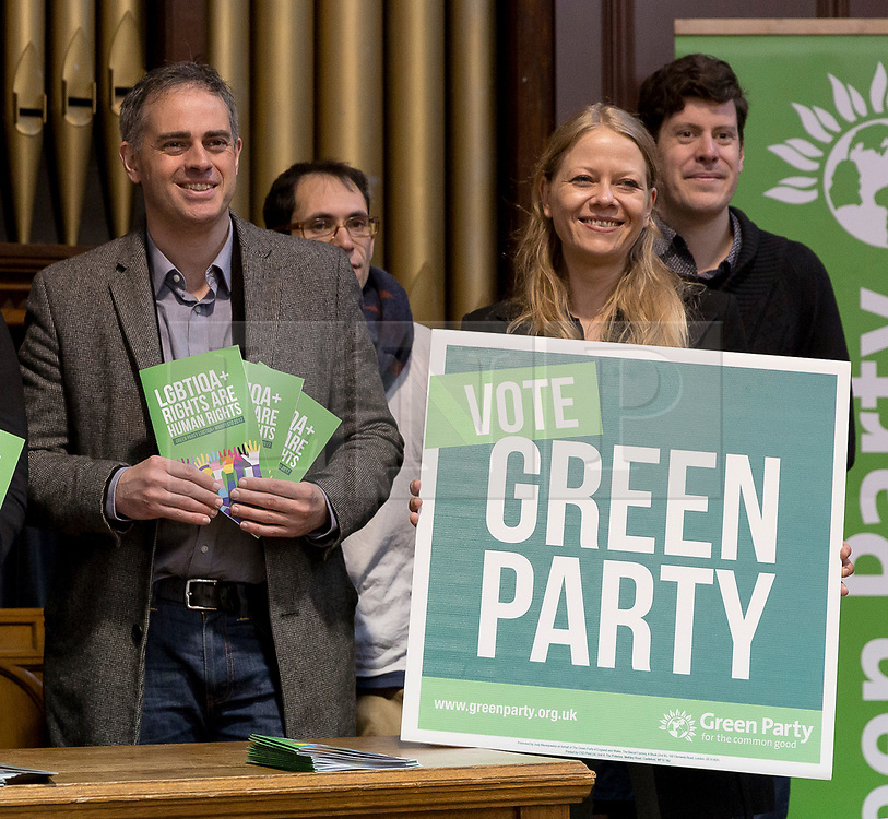 © Licensed to London News Pictures. 28/04/2017. LONDON, UK. JONATHAN BARTLEY and SIAN BERRY  at the Green Party LGBTIQA+ manifesto launch, at Trinity United Reform Church in London. Jonathan Bartley and Sian Berry have been elected Green Party co-leaders.  Photo credit: Vickie Flores/LNP