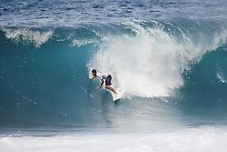 December 11, 2017 - Haleiwa, Hawaii, U.S. - Ezekiel Lau of Hawaii advances directly to Round Three of the 2017 Billabong Pipe Masters after winning Heat 9 of Round One at Pipe, Oahu, Hawaii, USA...Billabong Pipe Masters 2017. (WSL via ZUMA Wire/ZUMAPRESS.com)