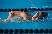 Sophomore Ca-Zao Bui races during the swim meet against Newark Memorial at Milpitas High School in Milpitas, California, on February 27, 2015. (Stan Olszewski/SOSKIphoto)