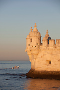 The Tower of Belem on the bank of the Tagus River, now a UNESCO World Heritage Site, in Lisbon, Portugal