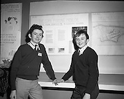 3/1/75.1/3/75.3rd January 1975.The Aer Lingus Young Scientist Exhibition at the RDS, Dublin...Picture shows Allen O'Leary (left) with his exhibit entitled 'The Cork Flooding Problem'.  ..
