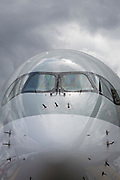 Nose detail of a Qatar Airways Airbus A350-1000 at the Farnborough Airshow, on 18th July 2018, in Farnborough, England.