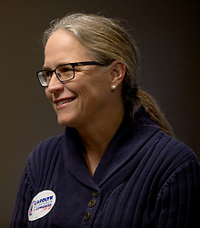 November 03, 2018 - Peachtree Corners, Georgia, U.S. -  CAROLYN BOURDEAUX, Democratic candidate in Georgia's 7th congressional district midterms race, addresses supporters at a canvass kickoff event.(Credit Image: © Brian Cahn/ZUMA Wire)