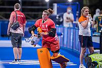 TOKIO - keeper Josine Koning (GK) voor de wedstrijd dames , Nederland-India (5-1) tijdens de Olympische Spelen   .  COPYRIGHT KOEN SUYK