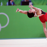 Gymnastics - Olympics: Day 5  Kohei Uchimura #154 of Japan in action during his Floor Exercise routine during the Artistic Gymnastics Men's Individual All-Around Final at the Rio Olympic Arena on August 10, 2016 in Rio de Janeiro, Brazil. (Photo by Tim Clayton/Corbis via Getty Images)