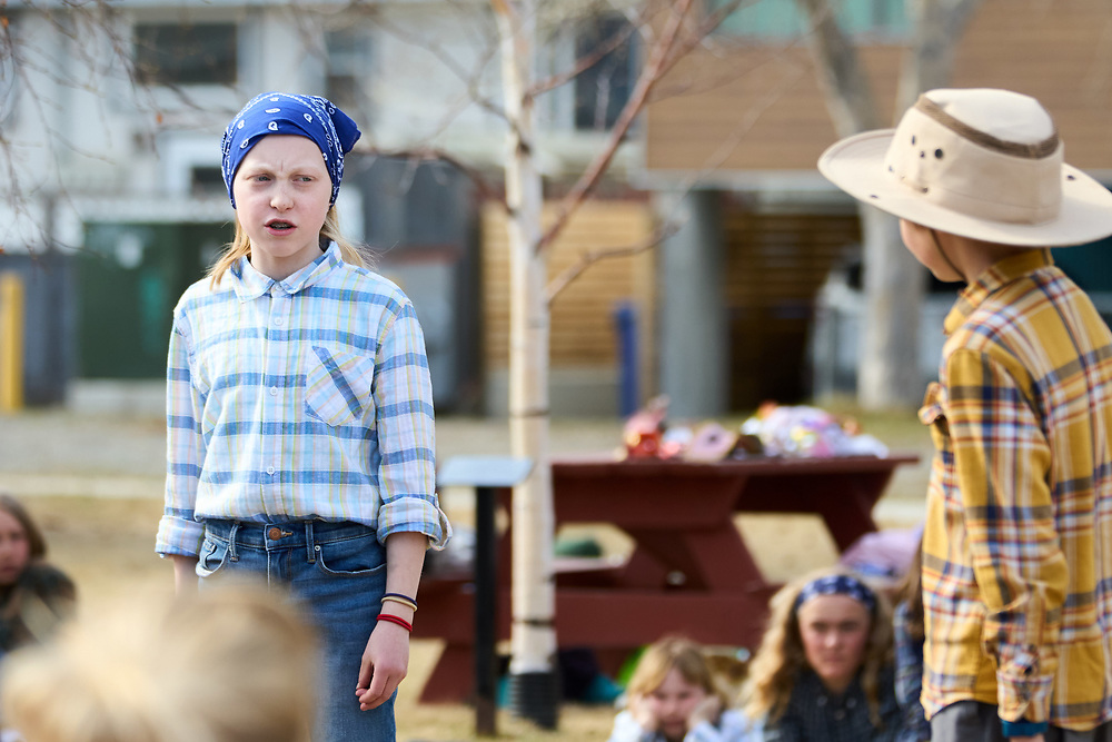 Gwendolyn Elliott-Stamp as Beatrice.<br /> Asher Johnson as Bededick.<br /> <br /> Yukon Montessori School performed Shakespeare's Much Ado About Nothing in Helicopter Park on May 19 in Whitehorse, Yukon Canada.
