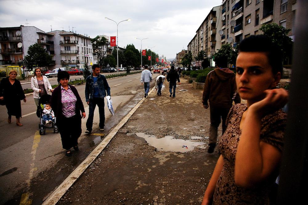 Street scene near the center of Pristina, Kosovo, on Mother Theresa street.