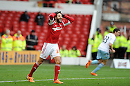 Djamal Abdoun of Nottingham Forest in action .  FA Cup with Budweiser, 3rd round, Nottingham Forest v West Ham Utd match at the City Ground in Nottingham, England on Sunday 5th Jan 2014.<br /> pic by Andrew Orchard, Andrew Orchard sports photography.