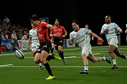 April 8, 2018 - Nanterre, Hauts de Seine, France - RC Toulon Fly Half FRANCOIS TRINH-DUC in action during the French rugby championship Top 14 match between Racing 92 and RC Toulon at U Arena Stadium in Nanterre - France..Racing 92 Won  17-13. (Credit Image: © Pierre Stevenin via ZUMA Wire)