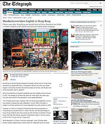 Tearsheet from The Telegraph newspaper...Hong Kong street