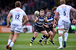 George Ford of Bath Rugby receives the ball - Mandatory byline: Patrick Khachfe/JMP - 07966 386802 - 17/10/2015 - RUGBY UNION - The Recreation Ground - Bath, England - Bath Rugby v Exeter Chiefs - Aviva Premiership.