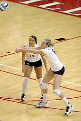 24 November 2006: Erin O'Connor sets a ball from the back to the front during a Quarterfinal match between the Evansville University Purple Aces and the Missouri State University Bears.The Tournament was held at Redbird Arena on the campus of Illinois State University in Normal Illinois.<br />