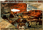 Mexican-American War 1846-1848: Battle of Vera Cruz, 20 day siege of the city 9-29 March 1847.  American forces took the city and marched on to Mexico City.  This was the first large-scale amphibious assault by the United States forces.  Poster advertising a spectacular musical entertainment celebrating the American victory.  Chromolithograph.