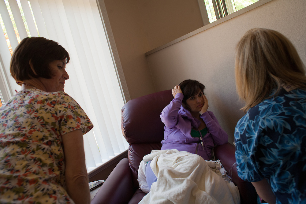 Lydia Evans during a chemotherapy treatment for breast cancer at the Freemont-Rideout Cancer Center in Marysville, CA.