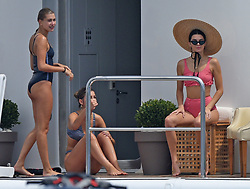 Kendall Jenner with friends Hailey Baldwin And Camila Morrone and her sister Kourtney Kardashian enjoying on a boat trip in Southern France, on May 23, 2017. Photo by ABACAPRESS.COM