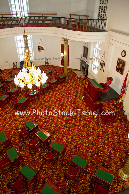 Interior of the Alabama state capitol building, Senate Chamber. Montgomery, AL, USA