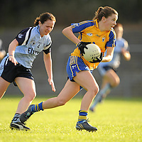 14 August 2010; Niamh O'Dea, Clare, races clear of Louise Kidd, Dublin, on the way to scoring a goal. TG4 Ladies Football All-Ireland Senior Championship Quarter-Final, Clare v Dublin, St Rynagh's, Banagher, Co. Offaly. Picture credit: Brendan Moran / SPORTSFILE *** NO REPRODUCTION FEE ***
