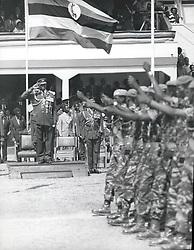 Jan. 01, 1975 - Idi Amin's 4th anniv.: President Amin takes the salute from a detachment of paratroops. Credits: Camerapix (Credit Image: © Keystone Press Agency/Keystone USA via ZUMAPRESS.com)