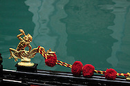 A golden freize on a gondola in Venice, Italy