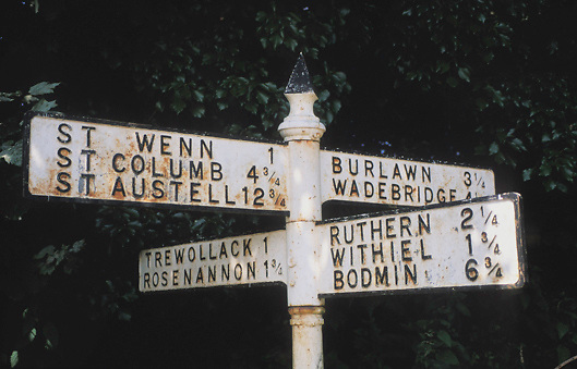 Signpost on country lane in Cornwall, England.