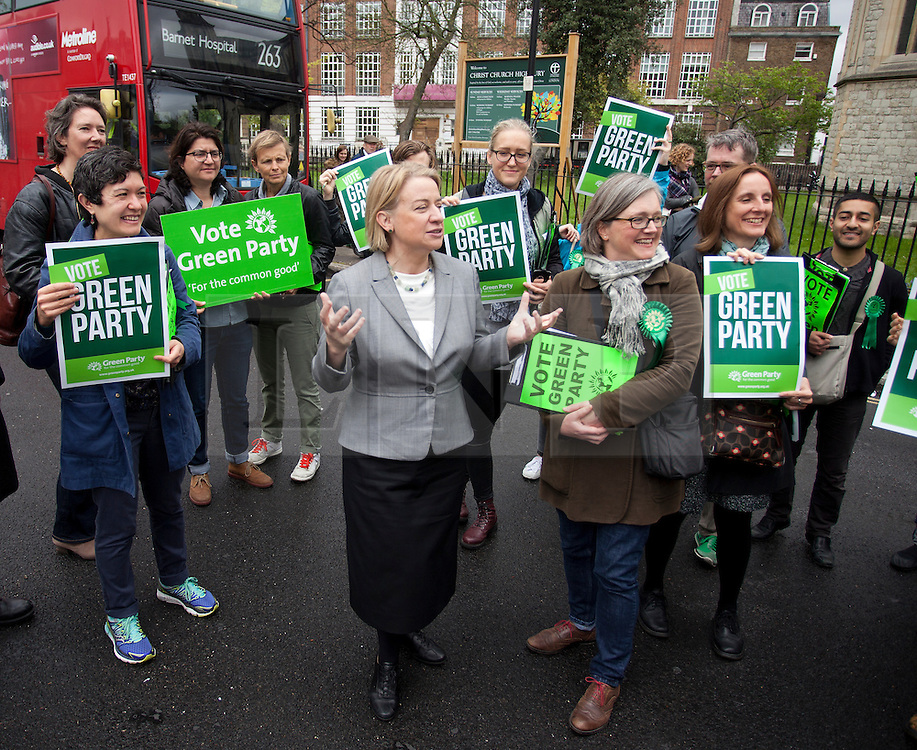 © Licensed to London News Pictures. 03/05/2015. London, UK. Natalie Bennett, Leader of the Green Party of England and Wales, campaigns in Islington, London, with local Green candidate Caroline Russell. Photo credit: LNP