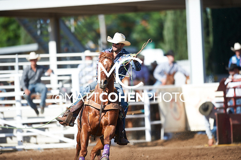 Team roper Brandon Beers of Powell Butte, OR competes at the Clovis Rodeo in Clovis, CA.<br /> <br /> <br /> UNEDITED LOW-RES PREVIEW<br /> <br /> <br /> File shown may be an unedited low resolution version used as a proof only. All prints are 100% guaranteed for quality. Sizes 8x10+ come with a version for personal social media. I am currently not selling downloads for commercial/brand use.